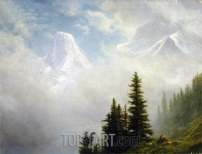 High in the Mountains, undated | Bierstadt| Painting Reproduction