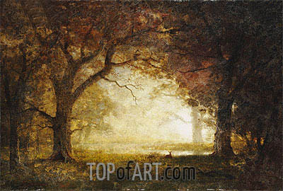 Forest Sunrise, undated | Bierstadt | Painting Reproduction