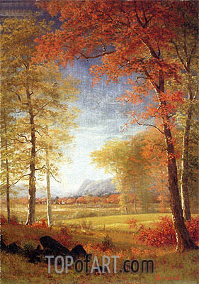 Autumn in America, Oneida County, New York, undated | Bierstadt| Painting Reproduction