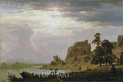 On the Sweetwater Near the Devil's Gate, Nebraska, 1860 | Bierstadt | Painting Reproduction
