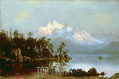 Mountain Canoeing, undated | Bierstadt| Painting Reproduction