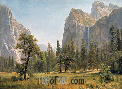 Bridal Veil Falls, Yosemite Valley, California, c.1871/73 | Bierstadt | Painting Reproduction