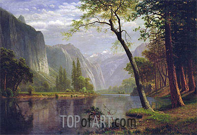 On the Merced River, 1863 | Bierstadt| Gemälde Reproduktion