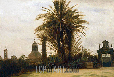 Palm Trees with a Domed Church, c.1880 | Bierstadt | Painting Reproduction