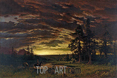Evening on the Prairie, c.1870 | Bierstadt | Painting Reproduction