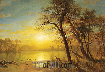 Mountain Lake, undated | Bierstadt| Painting Reproduction