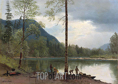 Campers with Canoes, undated | Bierstadt| Painting Reproduction