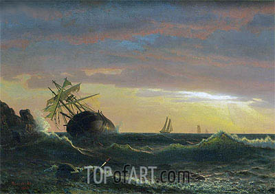 Beached Ship, 1859 | Bierstadt| Painting Reproduction