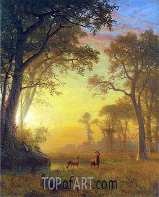 Light in the Forest, undated | Bierstadt | Painting Reproduction