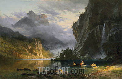 Indians Spear Fishing, 1862 | Bierstadt| Painting Reproduction