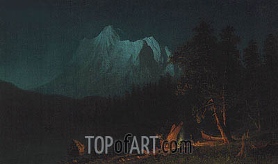Mountainous Landscape by Moonlight, 1871 | Bierstadt| Painting Reproduction