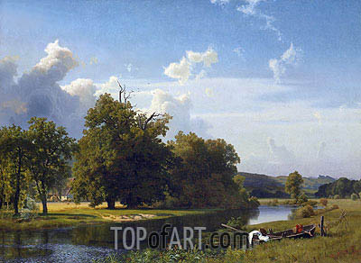 A River Landscape, Westphalia, 1855 | Bierstadt | Painting Reproduction
