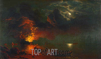 The Burning Ship, 1869 | Bierstadt | Gemälde Reproduktion