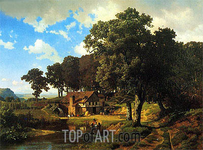 A Rustic Mill, 1855 | Bierstadt | Painting Reproduction