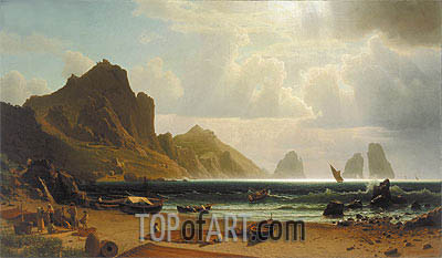 The Marina Piccola, Capri, 1859 | Bierstadt | Painting Reproduction