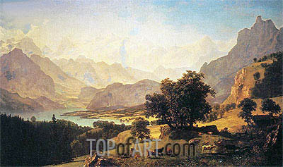 Bernese Alps, as Seen near Kusmach, 1859 | Bierstadt | Painting Reproduction