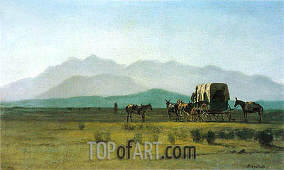 Surveyor's Wagon in the Rockies, 1859 | Bierstadt| Gemälde Reproduktion
