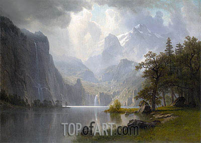In the Mountains, 1867 | Bierstadt | Painting Reproduction