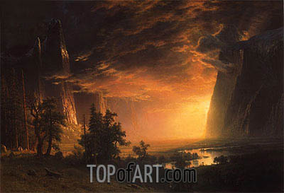 Sunset in the Yosemite Valley, 1869 | Bierstadt | Painting Reproduction