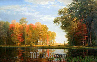 Autumn Woods, 1886 | Bierstadt | Painting Reproduction