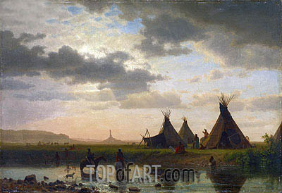 View of Chimney Rock, Ohalilah Sioux Village in the Foreground, 1860 | Bierstadt| Gemälde Reproduktion