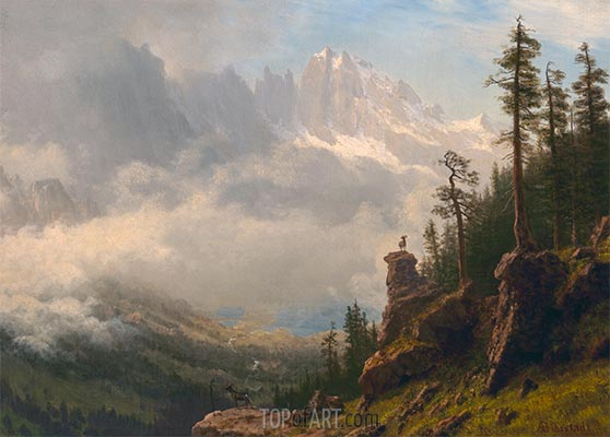 Sierra Nevada Mountains in California, undated | Bierstadt | Painting Reproduction