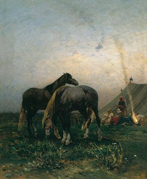 Alberto Pasini | Arabs by a Campfire, 1866