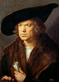 Portrait of an Unknown Man, 1521 by Durer | Painting Reproduction