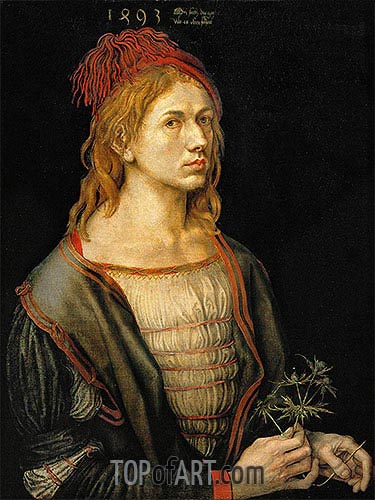 Self Portrait with a Thistle, 1493 | Durer | Gemälde Reproduktion