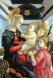 Madonna and Child with two Angels, c.1460/65 by Botticelli | Painting Reproduction