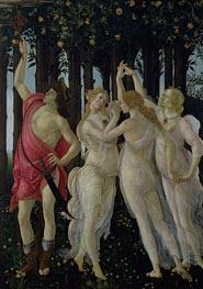 Detail of the Three Graces and Mercury, from the Primavera, c.1482 by Botticelli | Painting Reproduction