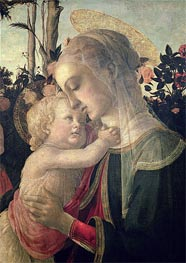 Madonna and Child with St. John the Baptist (Detail), Undated by Botticelli | Painting Reproduction