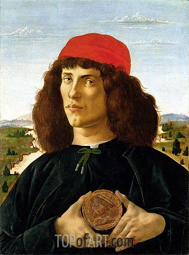 Botticelli | Portrait of a Young Man with a Medallion of Cosimo de' Medici, c.1470/75