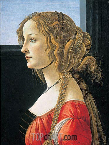 Portrait of a Young Woman, after 1480 | Botticelli| Gemälde Reproduktion
