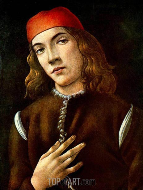 Portrait of a Youth, early 1480 | Botticelli | Painting Reproduction