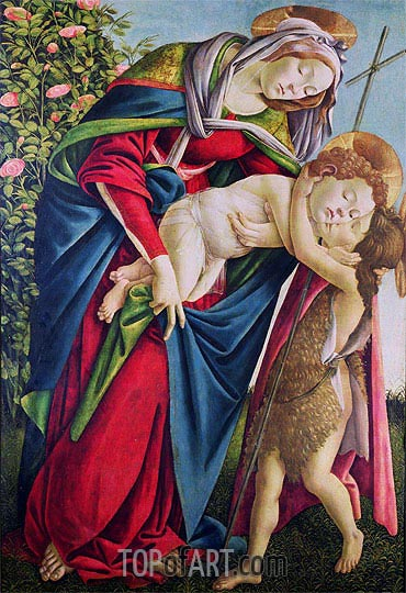 Madonna and Child with Saint John the Baptist, undated | Botticelli| Painting Reproduction