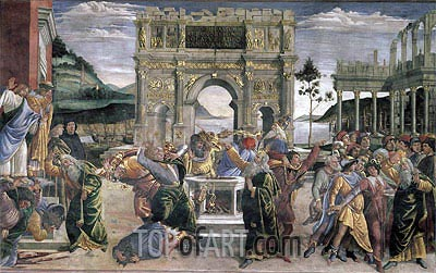 The Punishment of Korah, Dathan and Abiram, 1481 | Botticelli| Painting Reproduction