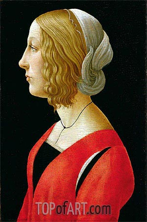 Bust of a Young Woman, c.1485/90 | Botticelli | Painting Reproduction
