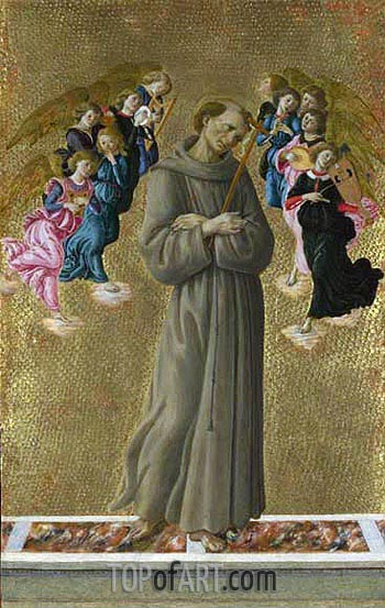 Saint Francis of Assisi with Angels, c.1475/80 | Botticelli | Painting Reproduction