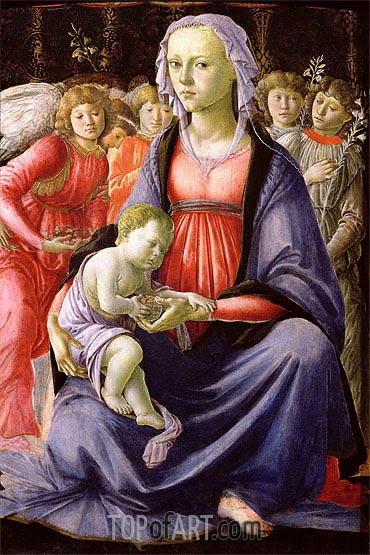 The Virgin and Child Surrounded by Five Angels, c.1470 | Botticelli | Painting Reproduction
