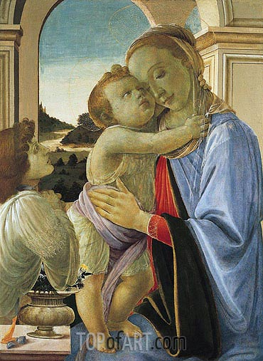 Madonna and Child with Adoring Angel, 1468 | Botticelli | Painting Reproduction