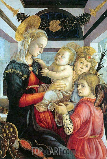Madonna and Child with two Angels, c.1460/65 | Botticelli | Gemälde Reproduktion