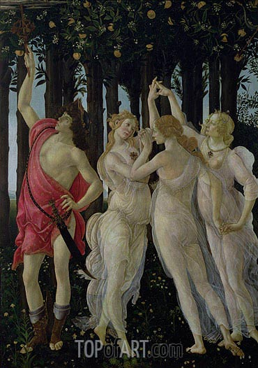 Detail of the Three Graces and Mercury, from the Primavera, c.1482 | Botticelli | Painting Reproduction