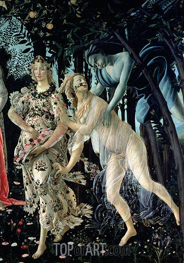 Botticelli | Detail of Zephyr, and Flora as the Hour of Spring, from the Primavera, c.1482