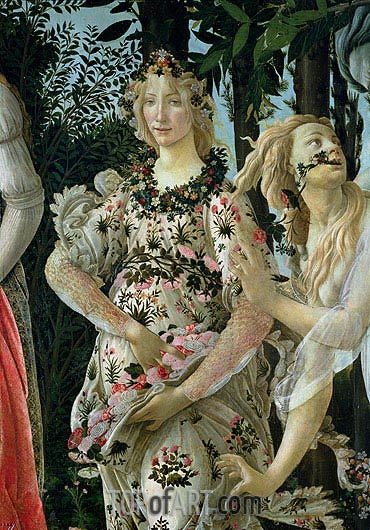 Detail of Flora as the Hour of Spring, from the Primavera, c.1482 | Botticelli| Painting Reproduction