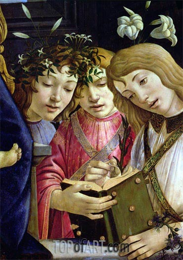 Madonna and Child with the Young St. John the Baptist and Angels (Detail),  | Botticelli | Painting Reproduction
