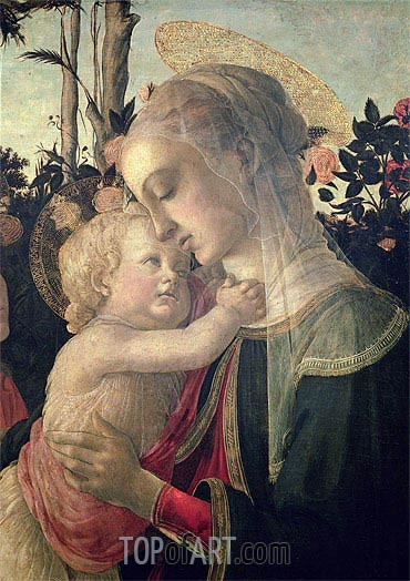 Madonna and Child with St. John the Baptist (Detail),  | Botticelli | Painting Reproduction