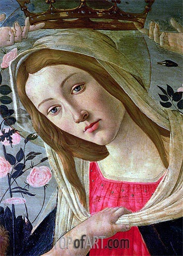 Madonna and Child Crowned by Angels (Detail),  | Botticelli| Painting Reproduction