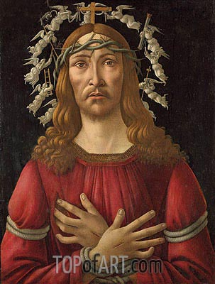 Christ as Man of Sorrows with Angels Halo,  | Botticelli| Painting Reproduction