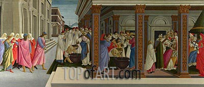 Four Scenes from the Early Life of Saint Zenobius  from Two Spalliera Panels, c.1500 | Botticelli | Painting Reproduction